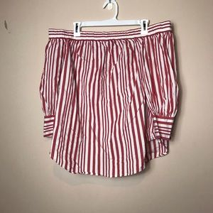 Who What Wear XL Stripe Off Shoulder Top, Red, XL